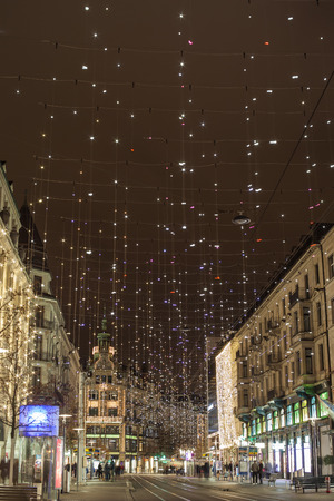 star light: Zurich, Zurich Canton, Switzerland - December 6, 2014: Star light on Bahnhofstrasse in Zurich at Christmas time