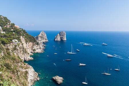 tyrrhenian: View of Faraglioni cliffs and the Tyrrhenian sea on Capri island, Italy, Europe Stock Photo