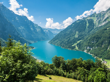 glarus: View of Kloentaler lake (Kloenthalsee) in Summer, Glarus, Switzerland
