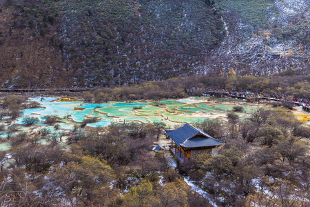 huang: Beautiful ponds in the Huanglong national park, colorful water looks fatanstic