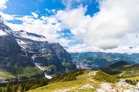 eiger: View on the hiking path at haaregg, near Eiger, Grindelwald, Switzerland Stock Photo