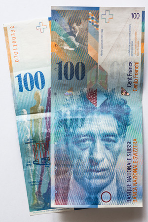 Close up view of Banknote hundred Swiss Francs