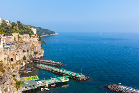 sorrento: View of dock on the morning in sunshine, Sorrento, Italy