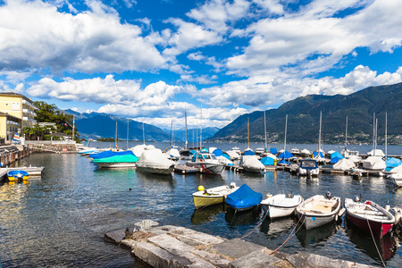 View on the lake side of Locarno, in Ticino, Switzerland