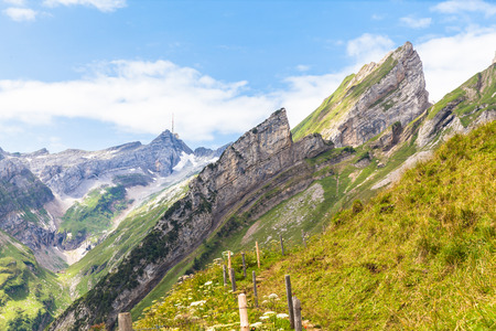 massif: View of Santis and Alpstein massif in east Switzerland Stock Photo
