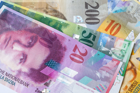 Banknotes of swiss currency as background
