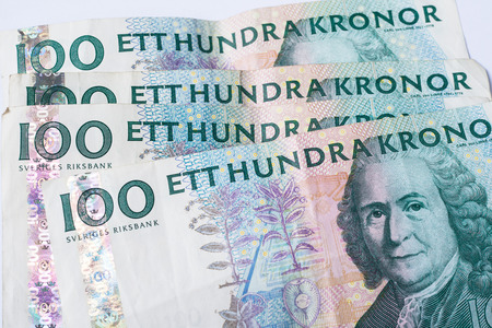 Close up view of one hundred swedish krona banknotes