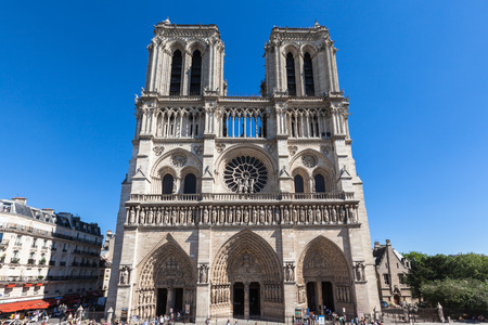Front view of Notre Dame in Paris, France