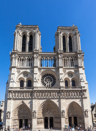 notre dame: Front view of Notre Dame in Paris, France