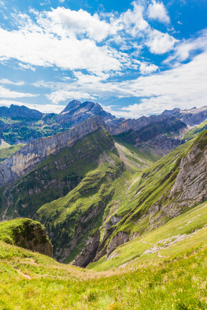 massif: View of Alpstein massif on the hiking path in Switzerland