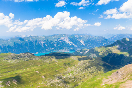 europe travel: Panorama view of Brienz Lake and Alps on top of Faulhorn, Switzerland