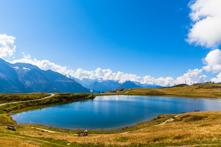 valais: Bettmersee (Lake) in Valais, Switzerland, near the famous Aletsch glacier