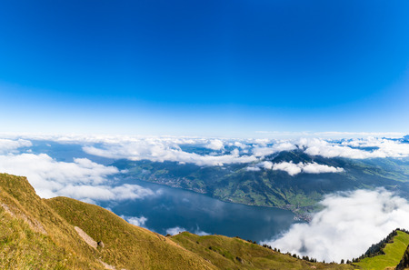 cloud scape: Aerial view of Lucerne lake and the Alps with cloud scape from top of Rigi mountain in Switzerland