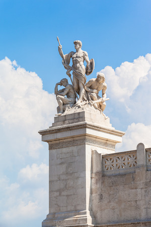 altar of fatherland: Close view of statue in front of Monumento nazionale a Vittorio Emanuele II, Rome, Italy