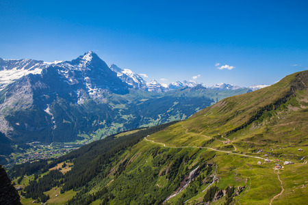 eiger: Panorama view of Eiger, Monch and other peaks of swiss alps near Grindelwald, Switzerland
