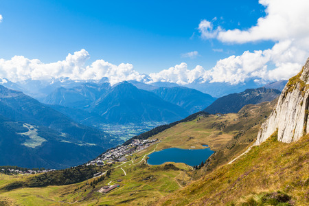 aletsch: Aerial view of the Bettmersee (Lake) and the alps in Valais, Switzerland, near the famous Aletsch glacier
