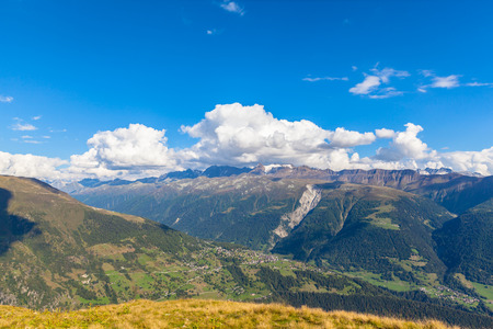 monch: Panorama view of the siwss alps in bernese oberland at summer time, Switzerland Stock Photo