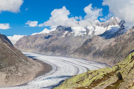 aletsch: Magnificent view of the Aletsch glacier on Mountains, Jungfrau region, Switzerland