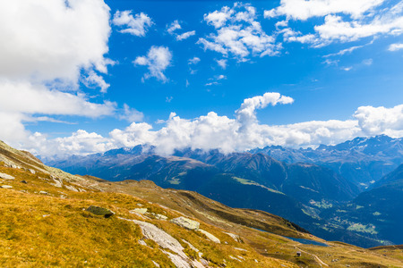 aletsch: Panorama view of the Alps on Bernese Oberland in Valais and Berne Canton,  near the famous Aletsch glacier and Bettmersee (Lake), Switzerland, Stock Photo