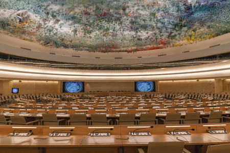 un used: Geneva, Switzerland - August 23, 2014 - Human Rights and Alliance of Civilizations Room in UN Geneva used by the United Nations Human Rights Council with ceiling sculpture by the prominent contemporary Spanish artist Miquel Barcelo, Editorial