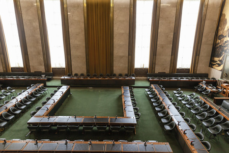 hosted: Geneva, Switzerland - August 23, 2014 - Council Chamber in UN Geneva. It hosted some negotiations of war and accomodate the meetings of the Conference on Disarmament.