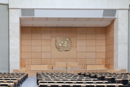 assembly hall: Geneva, Switzerland - August 23, 2014 - The assembly hall in United Nations office (UNOG) in Geneva, Switzerland. The Assembly Hall is used for big meetings such as the World Health Assembly.