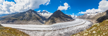 aletsch: Panorama view of the Aletsch glacier on the hiking path alone it, Jungfrau region, Switzerland