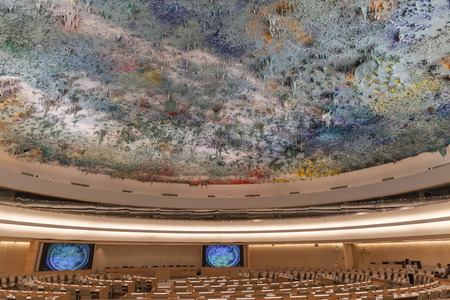 civilizations: Geneva, Switzerland - August 23, 2014 - Human Rights and Alliance of Civilizations Room in UN Geneva used by the United Nations Human Rights Council with ceiling sculpture by the prominent contemporary Spanish artist Miquel Barcelo, Editorial