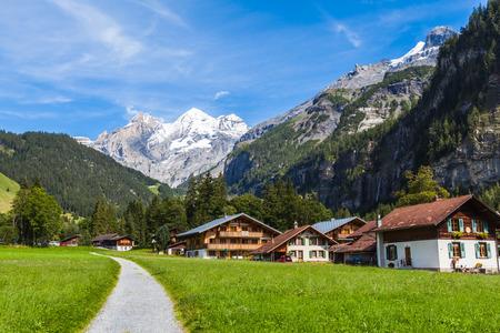 oberland: View of Bluemlisalp on the hiking path, swiss alps on Bernese Oberland of Switzerland