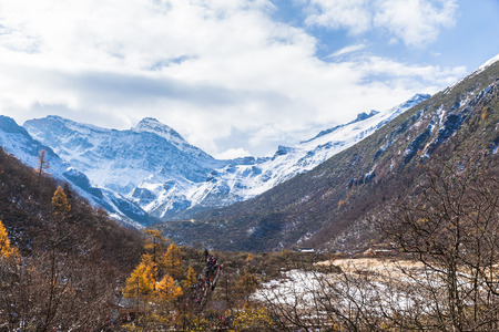huang: View of snow covered high mountains in Huanglong national park, Sichuan, province, China