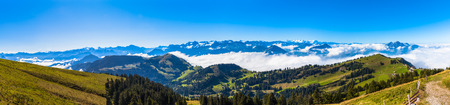 dreamscape: Panorama view of the alps on op of Rigi mountain, a famous tourism place near Lucerne, Switzerland