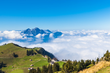 dreamscape: Stunning view of the Pilatus above the clouds from top of Rigi mountain, Lucerne, Switzerland Stock Photo