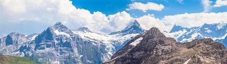 eiger: Panorama view of Schreckhorn, Fiescherwand, Eiger, the famous swiss alps near Grindelwald, Switzerland