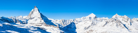 Panorama view of Matterhorn, Weisshorn and other peaks of the Pennine Alps on the Italian-Swiss border