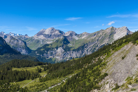 oberland: Panorama view of the Alps near Kandersteg on Bernese Oberland in Switzerland Stock Photo