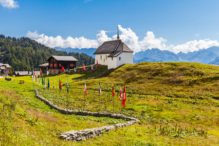 Small Chapel in Bettmeralp village near  Grindelwald in Switzerland. The cable car station to Bettmer lake is located in this village. photo