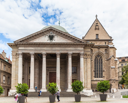 Geneva, Switzerland - August 23, 2014 - The front view of St. Pierre Cathedral in Geneva, a cathedral belonging to the Reformed Protestant Church of Geneva.