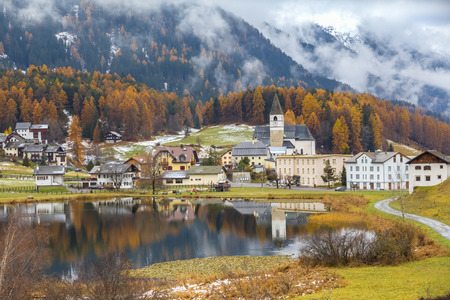 stunning: Stunning view of Lai Da Tarasp near Scuol in Engardin, Graubunden (Grisons) of Switzerland.