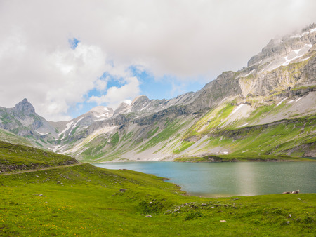 glarus: View of the Glattalpsee (lake) and Ortstock in the valley