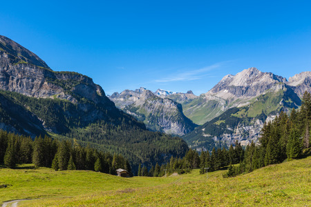 the bernese oberland: Panorama view of the Alps near Kandersteg on Bernese Oberland in Switzerland Stock Photo
