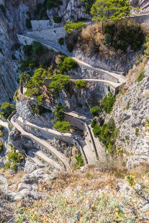 twisty: Twisty road on Capri island mediterranean sae Italy Stock Photo