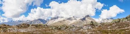 wallis: Panorama view of the Alps above the Aletschgletscher glacier in Kanton Wallis Switzerland