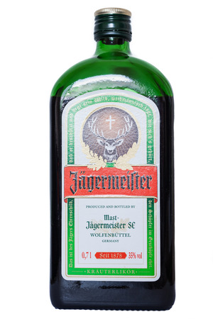 german alcohol: Zurich Switzerland  May 16 2015  Bottle of Jagermeister alcohol in isolated white background which is a german alcohol made with 56 herbs and spices at a strength of 35 alcohol by volume Editorial