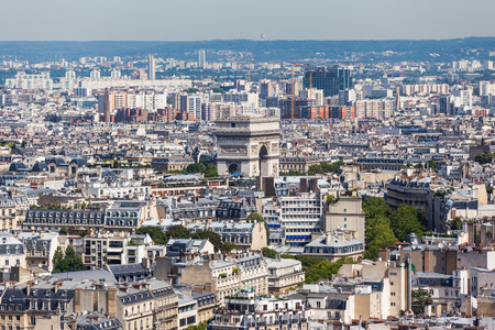 triumphe: Aerial view of Paris in direction of Arc de Triomphe Arch of Triumph from Eiffel tower