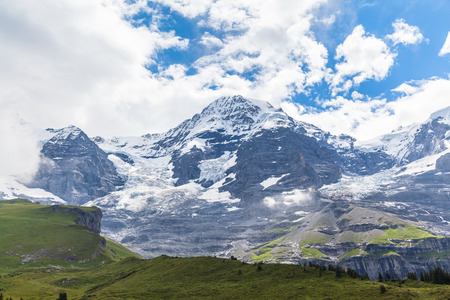 the bernese oberland: Stunning view of the alps and glacier on Bernese Oberland near Grindelwald Switzerland