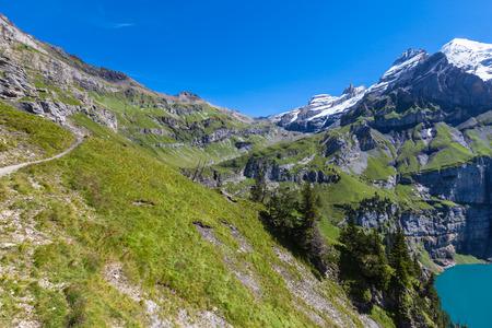 oberland: View of the Bluemlisalphorn above Oeschinen lake in Kandersteg on Bernese Oberland in Switzerland