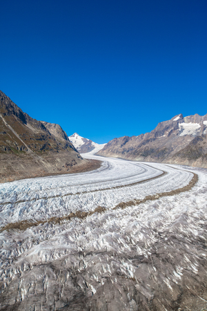 the bernese oberland: Close view of the Aletsch glacier in summer on the hiking path on Bernese Oberland, Switzerland