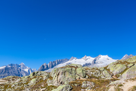 wallis: Panorama view of the Swiss Alps above the Aletsch glacier, Canton of Bern and Valais, Switzerland