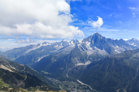 massif: Stunning view of the Mont Blanc massif including the peak of Aiguille Verte and the town Chamonix,  France