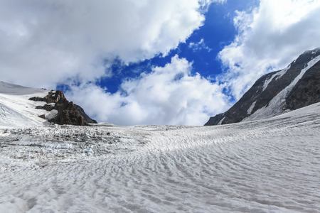 Panorama view on the Tre-la-Tete glacier in French Alps, near the Domes-de-Miage towards Mont Blanc, France.